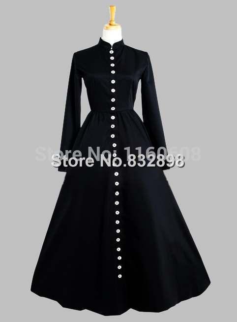 Gothic Black Thai Silk Button in the Front Victorian Era Dress