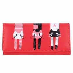 Карамельный цвет с принтом кота кошелек Дамские туфли из pu искусственной кожи Длинный кошелек мультфильм дамы сцепления кошелек женский