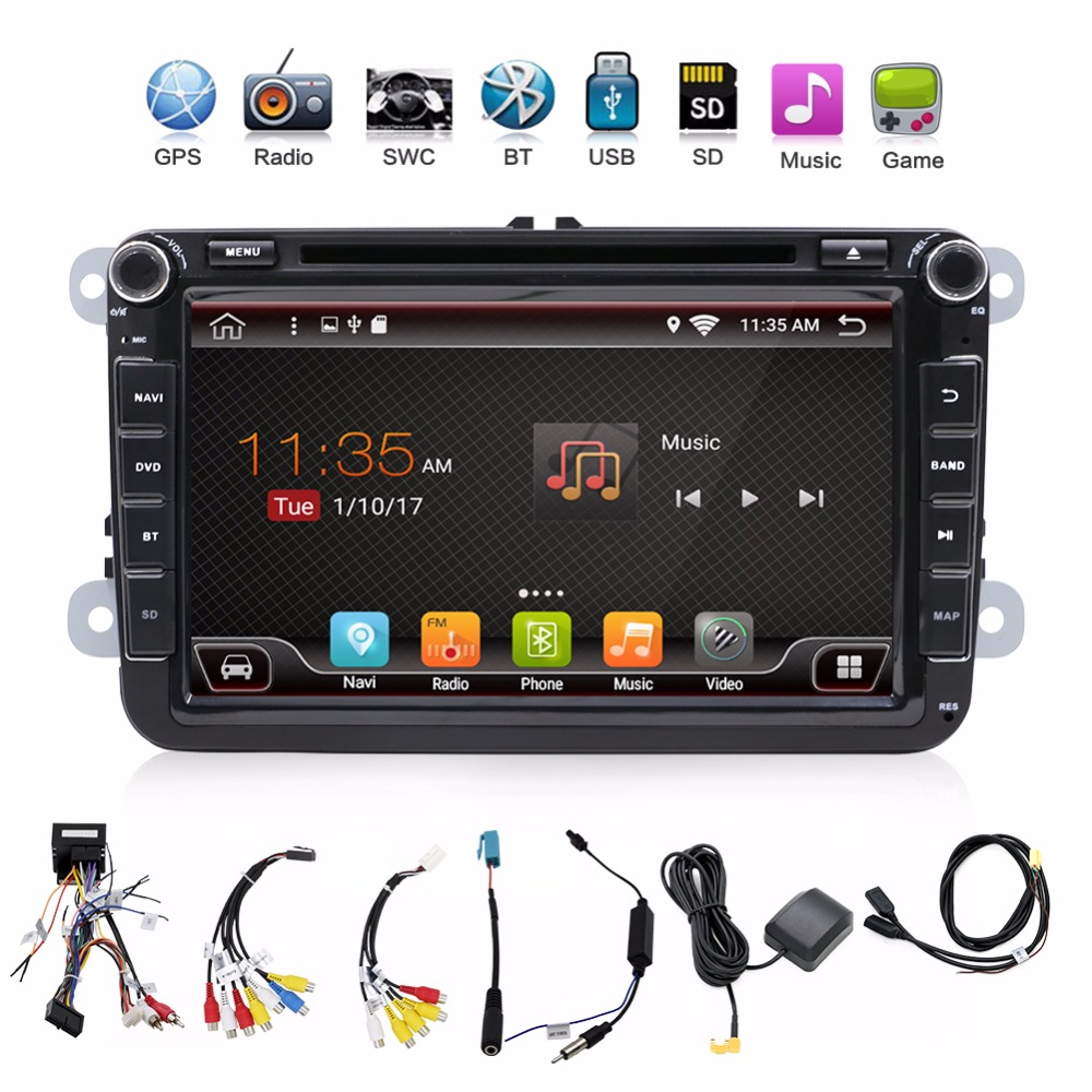 android 7.1 2 din radio VW car dvd player vw passat b6 polo golf 5 vw golf 4 touran t5 caddy sharan with GPS navigator steering 8 inch 2 din car dvd for volkswagen vw golf 4 golf 5 6 touran passat b6 sharan jetta caddy transporter t5 polo tiguan with gps