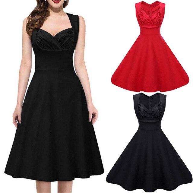 Elegant Women Dress Black Red Cut Out V Neck Summer Dresses Sleeveless 1950s 60s Big Swing Party Casual Retro Vestido