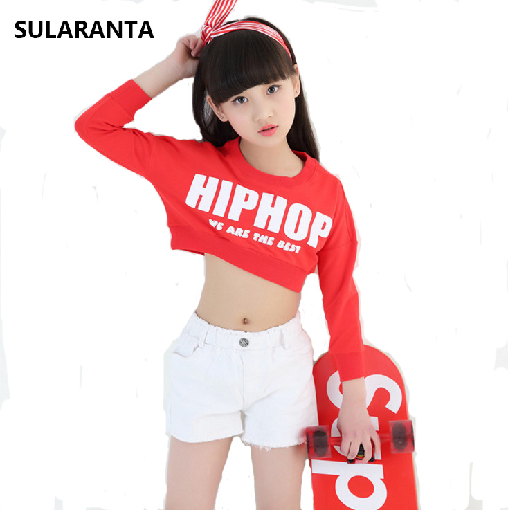 Kid Hip Hop Abbigliamento Casual Shirt Crop Felpa Top Shorts per ragazza Jazz Dance Costume Set abiti da ballo Ballroom Streetwear