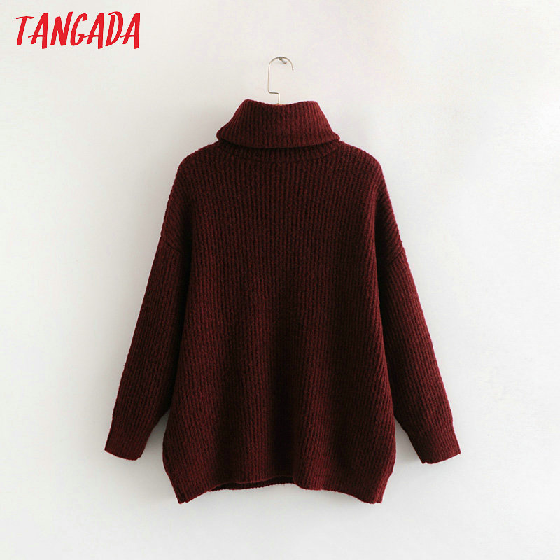 Tangada women jumpers turtleneck sweaters oversize winter fashion 19 long sweater coat batwing sleeve christmas sweate HY135 22