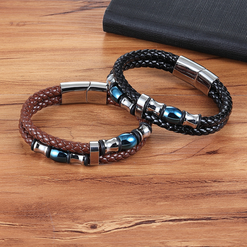 XQNI Special Design Double Layer Genuine Leather Bracelet for Women Men Commemorative Significance Jewelry For Birthday Gift