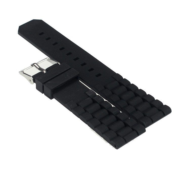 Xiniu Top Quality Mens Black Silicone Rubber Diver Watch Band Strap For