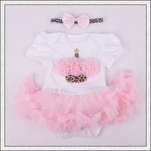 Girl party Baby Rose Heart Tutu Dress Rhinestone Headband Set Leopard Infant Dress Love Vestidos De