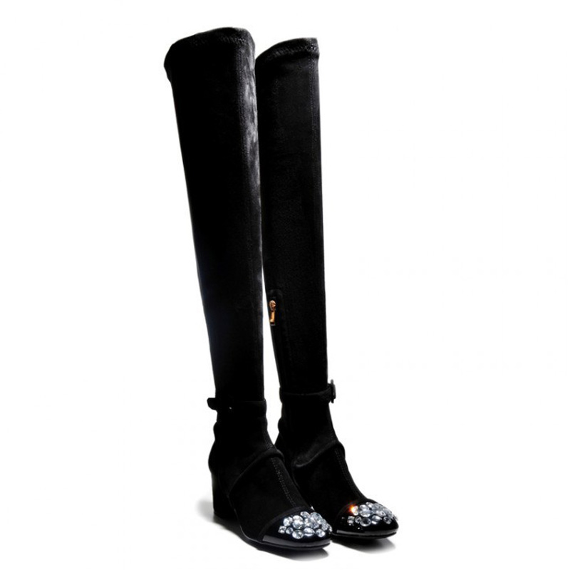 ФОТО Women Boots 2016Autumn Winter Over The Knee Thigh High Suede Long Boots Genuine leather Sexy Boots botas femininas zapatos mujer