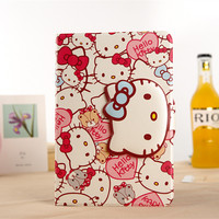 Cute Cartoon 3D Button Hello Kitty Case For IPad 6 KT Cover Stand PU Leather For