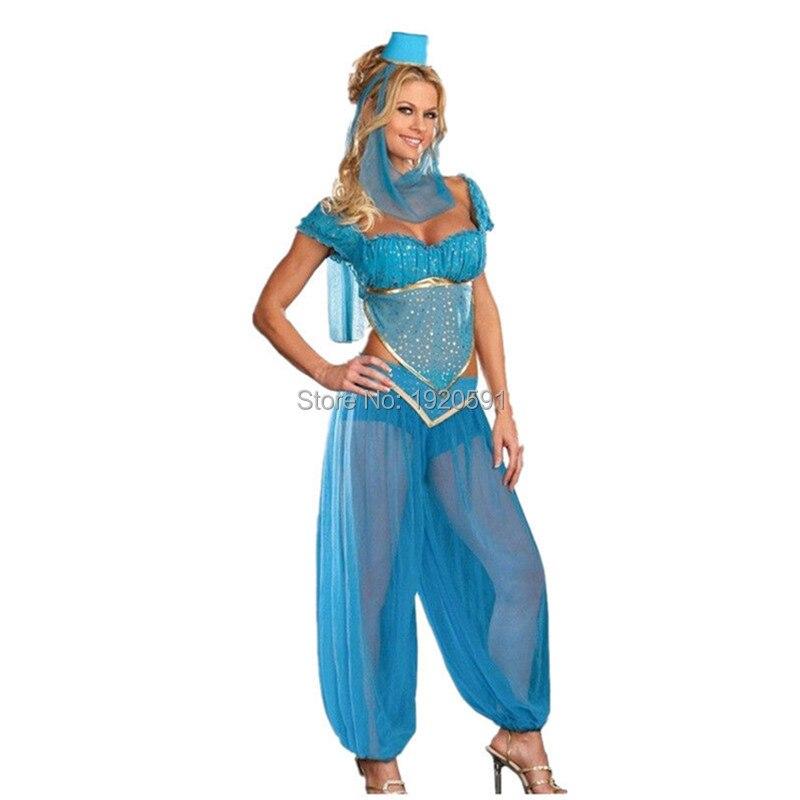 2016 New Adult Sexy Goddess GENIE Jasmine Aladdin Princess Costume Genie Outfit Arabian Belly Dancer Costume  Лосины