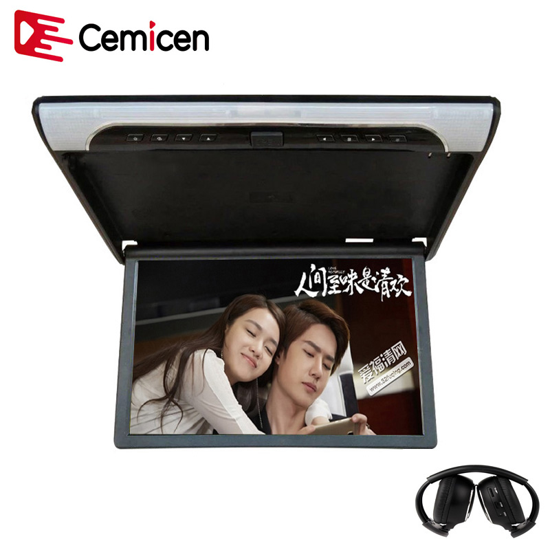 Cemicen 19 Inch 1080P HD Video Car Roof Flip Down Mount Monitor MP5 Player Support USB