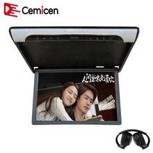 Cemicen 19 Polegada Flip Down Montagem Do Telhado Do Carro Monitor de Vídeo HD 1080P MP5 Player Suporte USB SD HDMI Sperker IR Transmissor FM