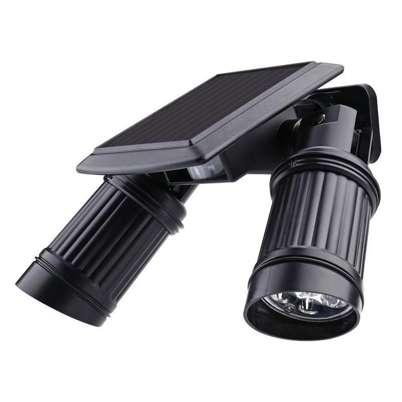 Binval LED Solar Lamp IP44 Security Rotatable Outdoor 14 LEDs Solar Power Dual Head Motion Sensor Garden Wall Spotlight Lighting