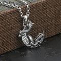 Handmade Vintage 925 silver Dragon pendant Real Sterling Silver Moon Dragon Pendant Silver Jewelry Necklace Pendant