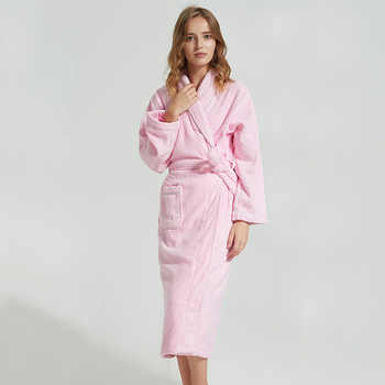 BathRobe Women Winter Warm Towel Fleece Men\'s Bathrobe Nightgown Kimono Cotton Dressing Gown Sleepwear Female Home Clothes White