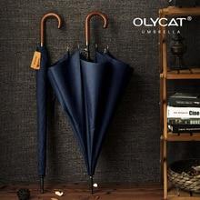 OLYCAT Brand Long Umbrella Japanese Wooden Handle Semi Automatic Large Rain Umbrellas Men 8K Windproof Guarda Chuva Paraguas