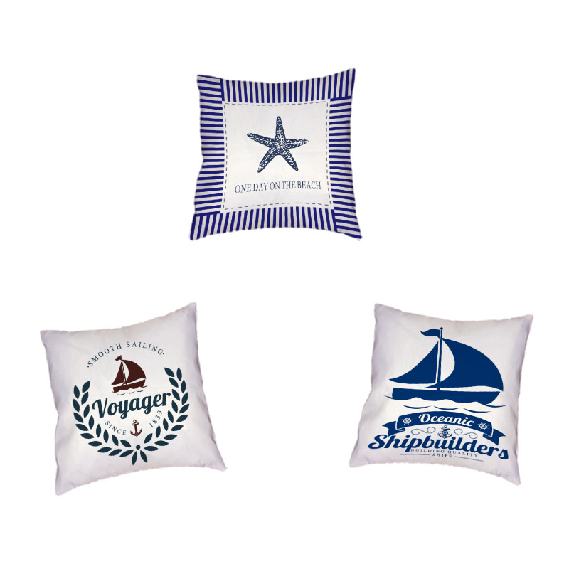 Ocean Tools Pillow Cases Boats Lighthouse Anchors Cushion Cover Compass Voyager Rudder 43*43cm Living Room Office Couch Decorate