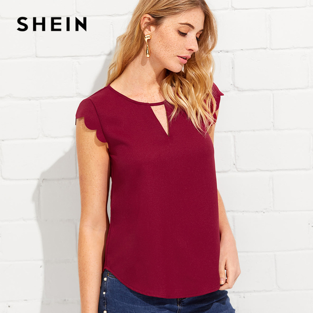 024045399b90 SHEIN V Notch Front Scallop Trim Curved Hem Top Burgundy Round Neck Cap  Sleeve Blouse 2018 Summer Casual Women Cut Out Tops