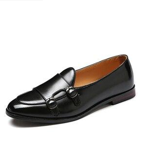Image 2 - 男性ローファーレザーシューズの男性ビジネスドレスシューズオックスフォードシューズファッション男性のビッグサイズ 38 47