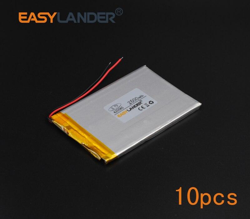 10 יחחבילה 3.7V 2500mAh פולימר ליתיום סוללה עבור obile אלקטרוני תאורה אוטיקון Streamer בטיחות מנורת פלאש תאורת 425585
