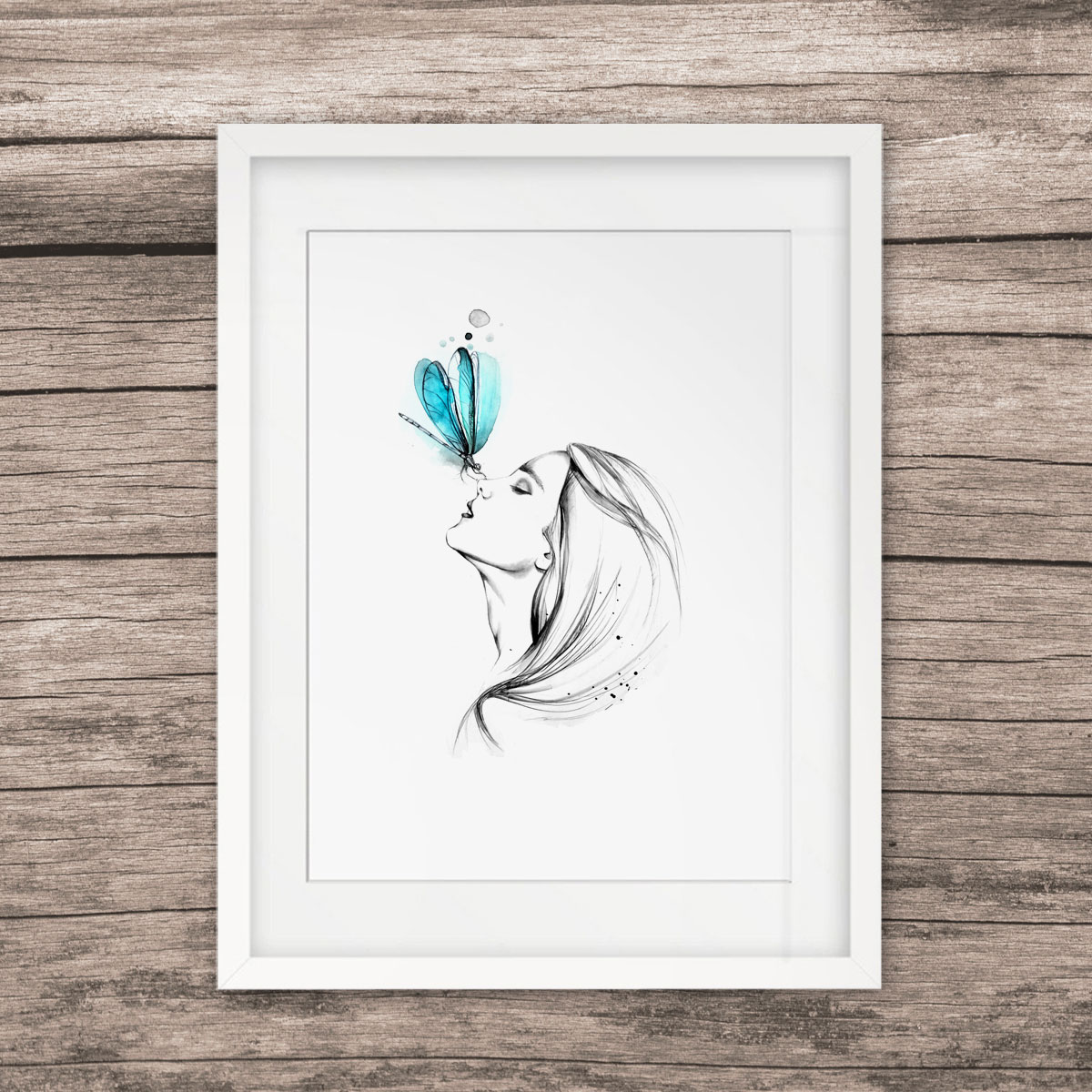 Us 5 6 girl with butterfly pencil sketch watercolor painting sweet home poster wall art decor room wall hanging art pictures gift e327 in painting