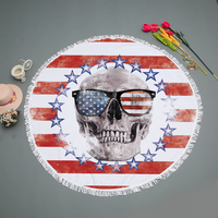 New Skull Printed Tapestry Indian Mandala Round Beach Towel Blanket Boho Gypsy Tablecloth Bikini Cover Up Yoga Mat Carpet 150cm