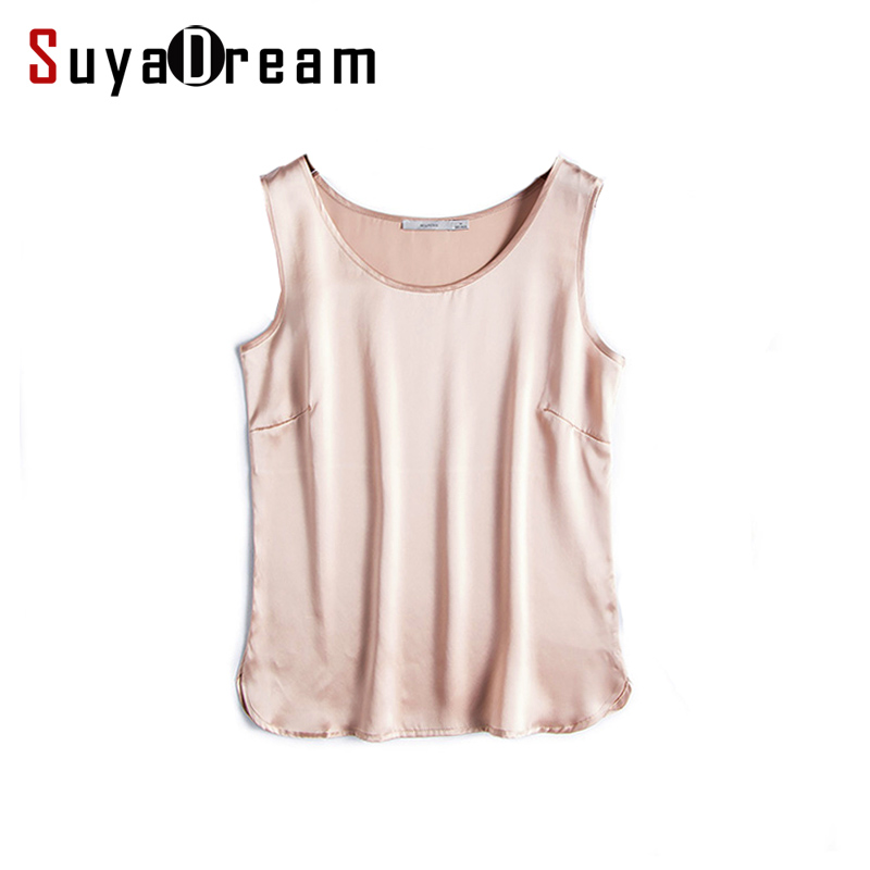 100% REAL SILK women tank tops basic Solid tanks 2018 Sommer Ermeløs Top Satin Silke Vest Svart Hvit Naken T-skjorte