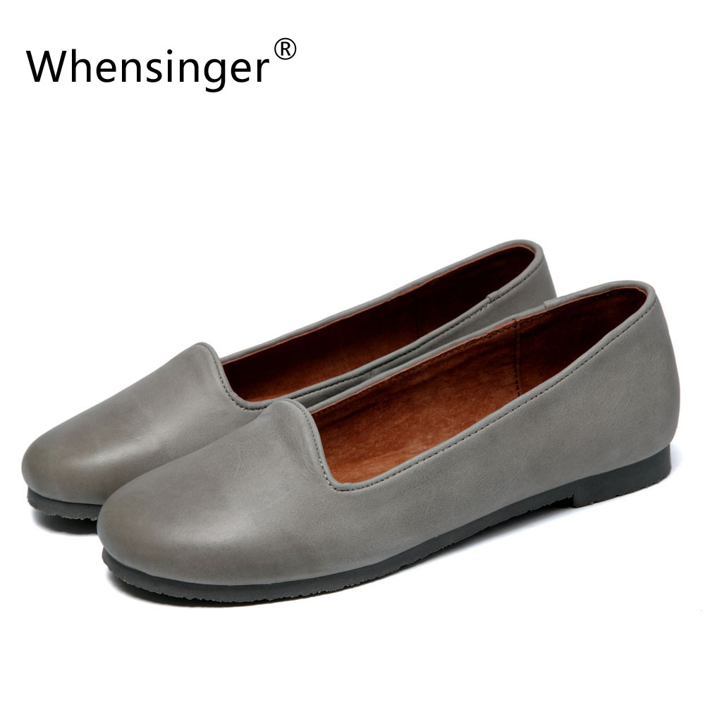 ФОТО Whensinger - 2017 New Woman's Shoes Genuine Leather All-match Fashion Flats Spring Style Slip-On Design F926