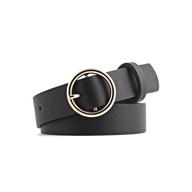 Harajuku из искусственной кожи пояс Для женщин круглой металлической пряжкой Мода брендовые черные грязно-белый дизайн Ремни розовый сладкий Повседневное пояс
