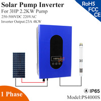 4000W 23A 1phase 220VAC solar pump inverter with IP65 full auto operation for 3HP 2.2KW water pump for solar pump system
