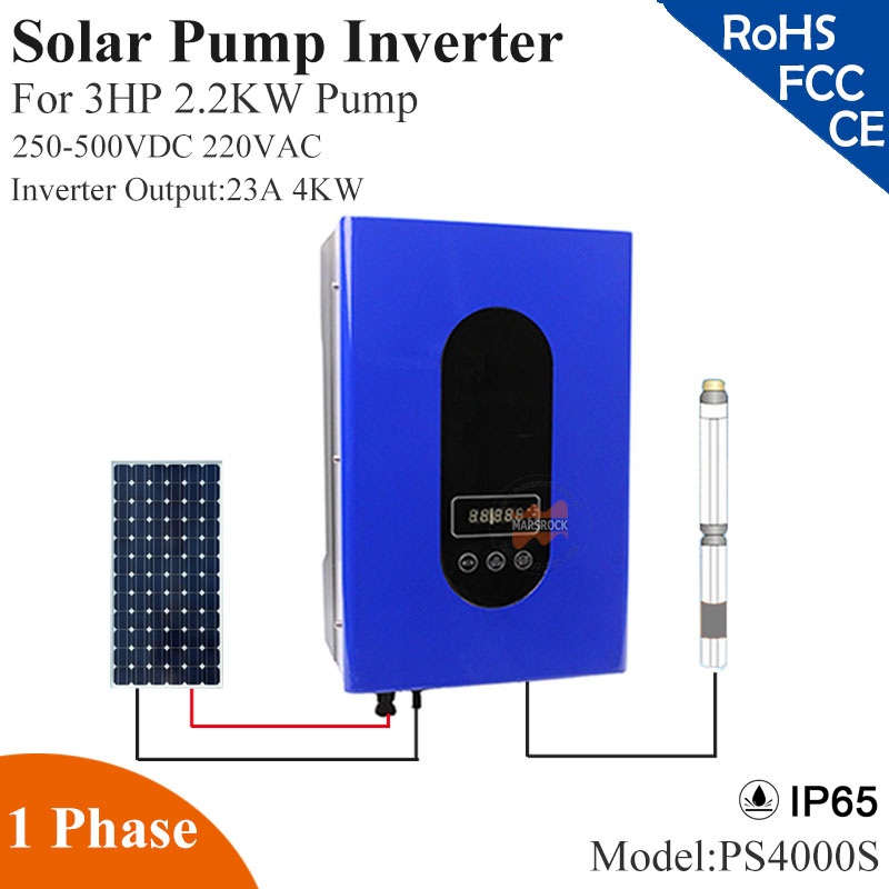 4000W 23A 1phase 220VAC solar pump inverter with IP65 full auto operation for 3HP 2.2KW water pump for solar pump system decen 2200w pv pump 3700w solar pump inverter for solar pump system adapting water head 79 51m daily water supply 20 40m3