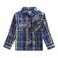 2015 nova niños de la marca de ropa de diseño de moda camisa a cuadros otoño abierto da vuelta-abajo camisa de manga larga para bebés camiseta para 2-6y
