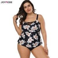 JOYMODE Swimsuit Women Swimwear Plus Size Two Pieces Floral Printed With Skirt Bandage Retro Vintage Bathing