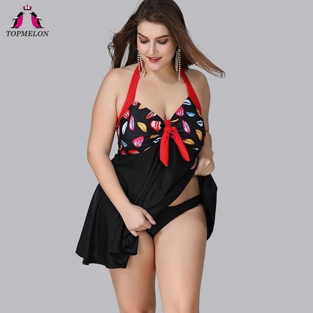 b6f7d50076 TOPMELON Swimwear High Waist 2018 Push up Tankini Swimsuits Women Plus Size  Two Pieces Suits Bathing Suit Printed Dress XL-5XL