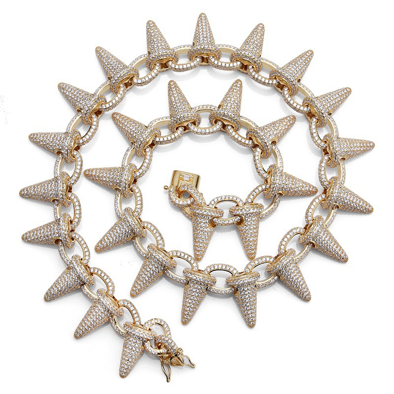 Luxury AAA Zircon Rivet Spike Chain Link Men Necklace Gold Silver Color Bling Iced Out CZ