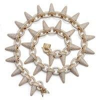 Роскошные AAA циркон заклепки конусообразная цепь ссылка Для мужчин Цепочки и ожерелья цвета: золотистый, серебристый Цвет Bling льдом CZ хип хо