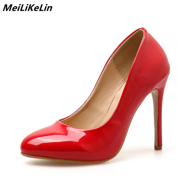 cf05dd47aa6 MeiLiKeLin Women Classic Red Pumps Heels Womens Thin Heel Round Toe Shoes  Shallow Leather Dress Pumps Ladies Party Wedding Pumps