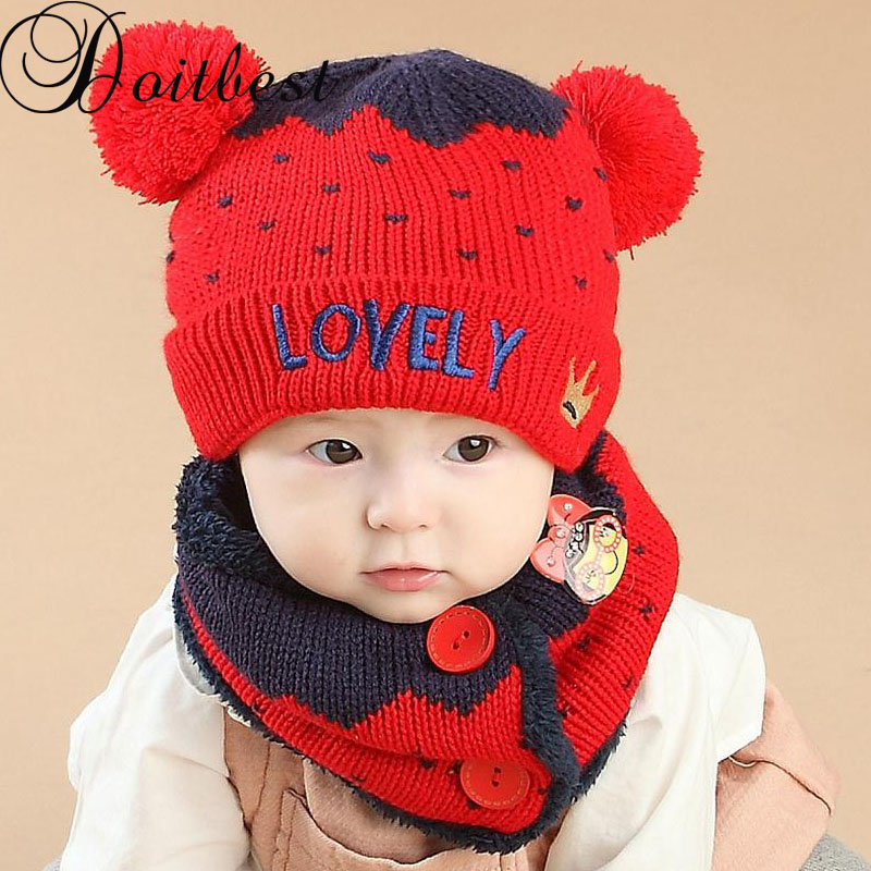 Doitbest 1 To 4 Years Old Korea LOVELY Crown Plus Velvet Kids Beanies Boys Knitted Hats Winter 2 Pcs Baby Girl Scarf Hat Set