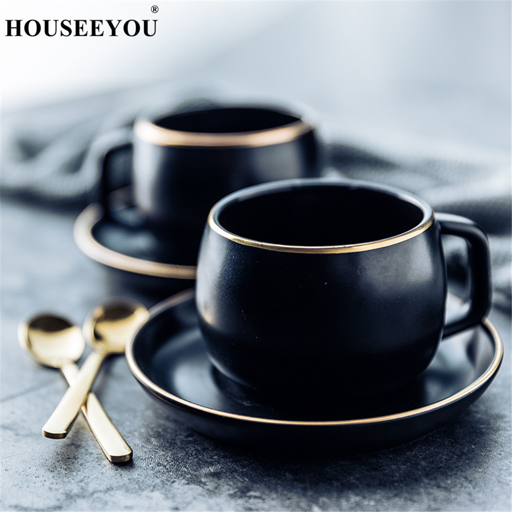 Ceramic Coffee Cup And Saucer Black Pigmented Porcelain Tea Cup Set With Spoon