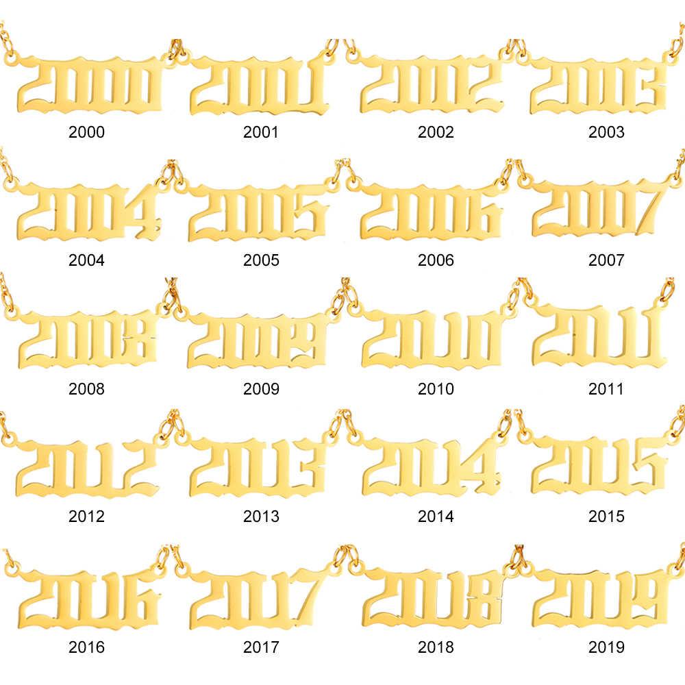 Collana personalizzata Donne Data Anno Numero Dei Monili 1994 1995 1996 1997 1998 1999 1980-2019 Personalizzato Collana girocollo