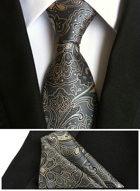 8cm New Designer Necktie Set Classic Paisley Tie with High Quality Woven Pocket Square