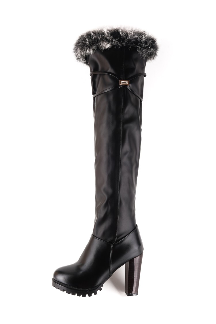 2016 Winter New High Heel Boots Leisure Elegant Heels Sexy Women Shoes warm snow Boots Round Toe Thin Heel Leather Boots T703-6 2018 new arrival genuine leather zipper runway autumn winter boots round toe high heels keep warm elegant women ankle boots l29