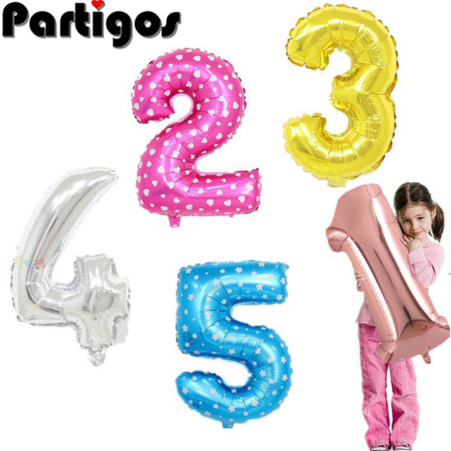 32 inch number balloon 1 2 3 4 5 Number Digit Helium foil Ballons Baby Shower Birthday Party Wedding Decor Balls Supplies