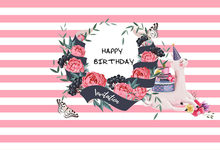 7x5FT Light Pink Strips Rose Flowers Butterfly Llama Happy Birthday Party Custom Photo Backgrounds Backdrops Vinyl 220cm x 150cm(China)
