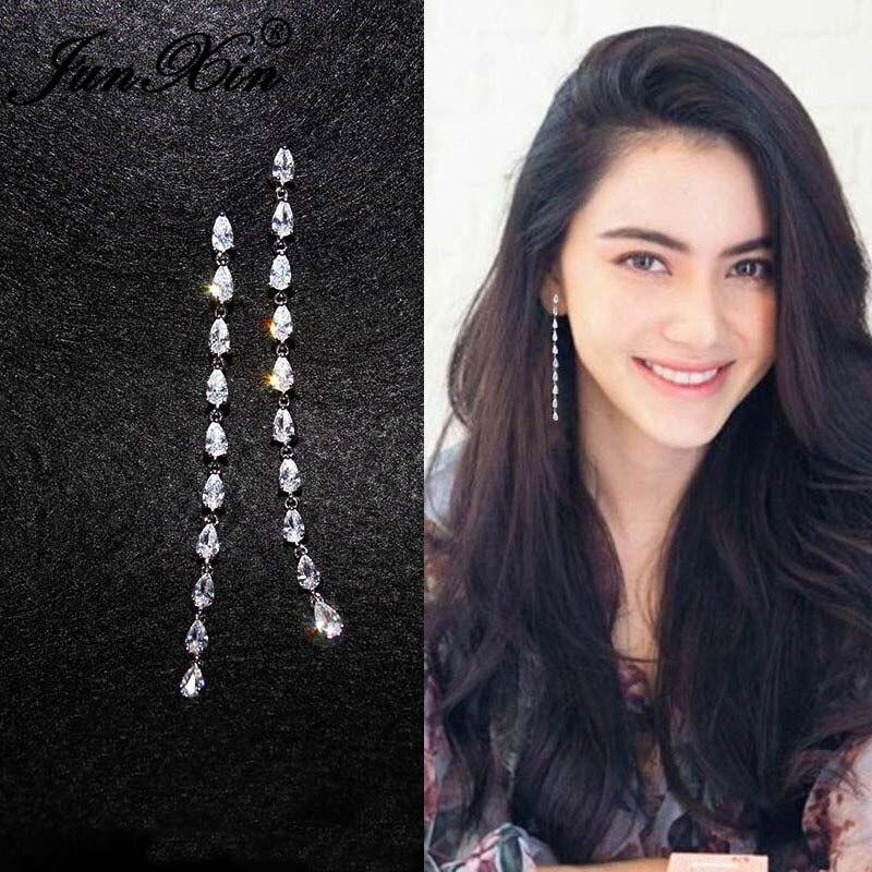 JUNXIN Charm Crystal Long Tassel Earrings For Women Silver Color White Water Drop Zircon Chain Drop Earrings Wedding Jewelry