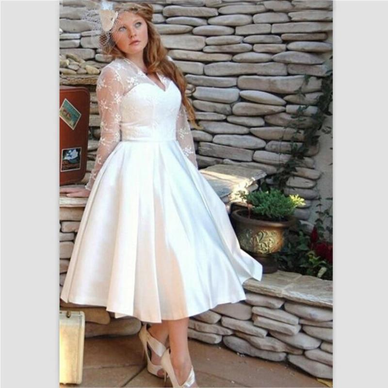 BU Plus Size Wedding Dress 2015 White Tea Length V Neck