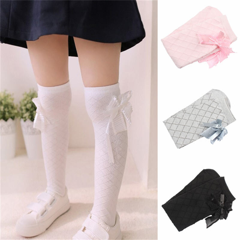 Hot Girls Stockings Lovely Bowknot Kids Knee High Socks 4Pair Lot Cute Cotton Plaid Jacquard Baby Kid Long Stocking Leg Warmers in Tights Stockings from Mother Kids