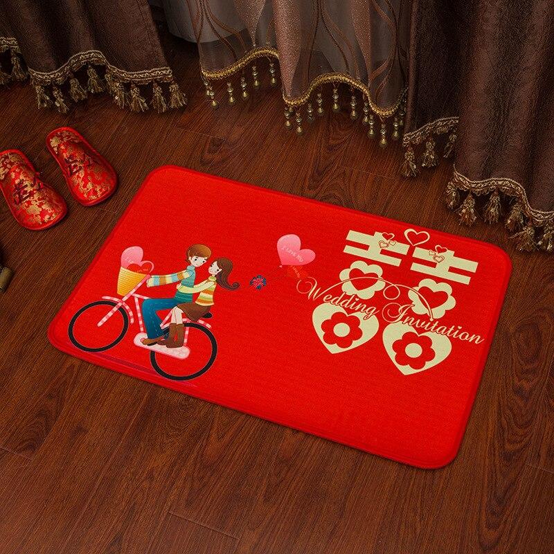 Size 60*40 Cm Red Cartoon Carpet Novelty Chinese Wedding Party Supplies Bride&Bridegroom Marriage Room Decoration Door Mat