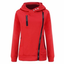2017 New Autumn winter Women red black hoodies sweatshirts Sudaderas Mujer Hoody zipper Pocket Long Sleeve Warm Female Hoodies
