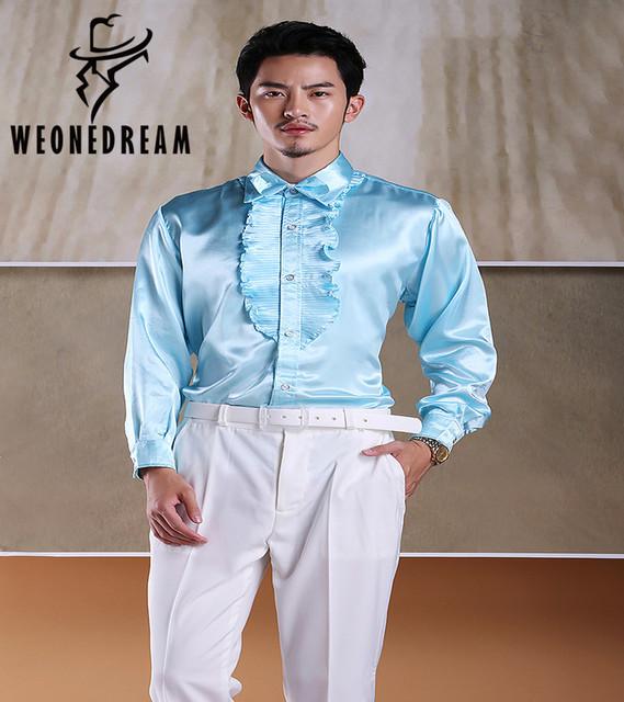 Nuevos Hombres Sólidos Camisas De Satén para la Etapa Hombre Volantes Smoking camisas de Rendimiento de Ropa de Fiesta de Tamaño 39 40 41 42 43 44