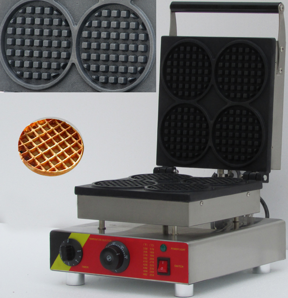 four slices commerical electric waffle maker ,waffle baker, Round shape waffle maker ,Waffle Toaster, Waffeleisen
