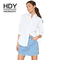 HDY Haoduoyi Apparel White Brief Women Shirts Single Breasted Back Split Stripe Lady Tops Streetwear Loose